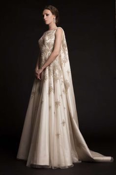 Embroidered dress with cape