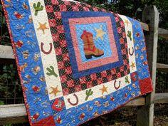 handmade cowboy quilt   Cowboy Quilt Rootin Tootin Cowboy Blue by Springwaterdesigns