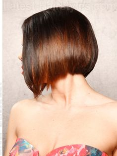 Low and Steep Angular Bob for Straight Hair Side View