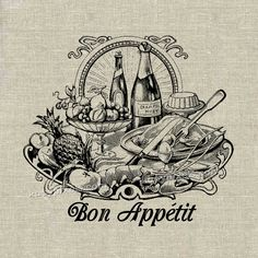 INSTANT DOWNLOAD Bon Appetit Food Buffet Vintage by katypixels, $1.00