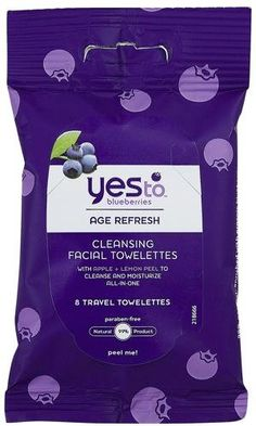 Beauty love of the week: Yes To Blueberries travel cleansing towelettes