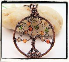 Autumn tree.  Wire wrapped pendant
