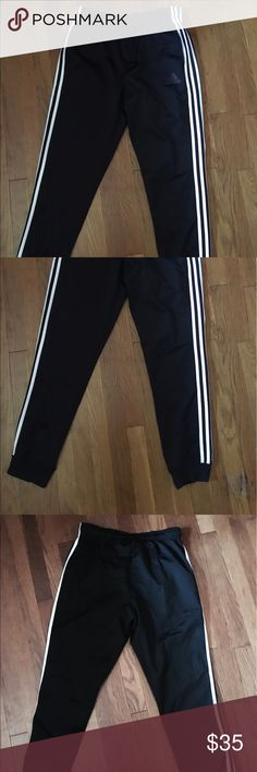 Men's Adidas Tricot 3 Stripe Jogger Black Joggers are in good condition Adidas Pants Sweatpants & Joggers