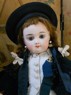 ~~~ Beautiful French Mystery Bisque Doll with Pretty Antique Costume ~~~