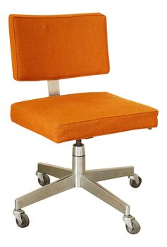 fantastic mid century modern rolling desk chair made by the corry jamestown corporation original orange