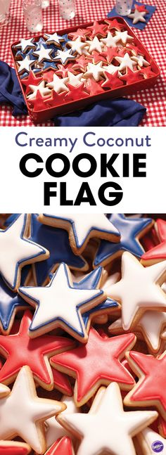 Celebrate Independence Day by making these fun red, white and blue star cookies! Arrange cookies in flag shape for a more patriotic style. These cookies will be a hit at your of July party. of july royal icing cookies) Star Cookies, Cut Out Cookies, Iced Cookies, Royal Icing Cookies, Holiday Cookies, Holiday Treats, Holiday Recipes, Cookie Icing, Holiday Gifts