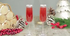 Poinsettia Cocktail. Champagne, sugar syrup, cranberry cocktail and vodka.