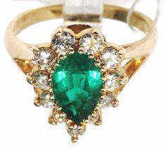 14K Yellow Gold Royal 1.1 CT Emerald & 0.55 CT Diamond Cocktail Ring sz 6.5 B4. #emerald #Cocktail