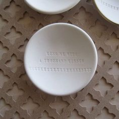 white clay bowl KISS ME With a Thousand Kisses tiny by palomasnest, $26.00