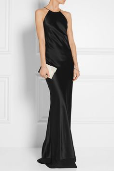 Calvin Klein.....Black silk-satin Slips on 100% silk Dry clean Made in Italy