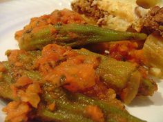 Mpamies - Greek-Style Stewed Okra (olive oil, onion, tomatoes, water, okra, parsley)
