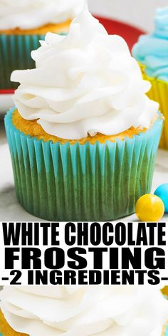 This quick and easy 2 ingredient white chocolate buttercream frosting is rich, creamy and fluffy. It's great for piping cupcakes and frosting cakes. White Frosting Recipes, Easy Icing Recipe, White Chocolate Buttercream Frosting, Cupcake Frosting Recipes, White Chocolate Frosting, Chocolate Frosting Recipes, Buttercream Recipe, Homemade Chocolate, Cupcake Cakes