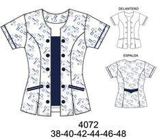 uniformes clinicos con cierre - Buscar con Google Scrubs Pattern, Scrubs Uniform, Sewing Blouses, Uniform Design, Altering Clothes, Fashion Design Sketches, Navy Dress, Dress Patterns, Blouse Designs