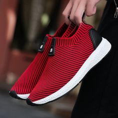 3a2f02024 Men Knitted Strech Fabric Breathable Non-slip Slip On Casual Sneakers Best  Sneakers