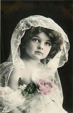 BEAUTIFUL GIRL CHILD HOLDING A PINK ROSE TINTED STUDIO PHOTO P/C