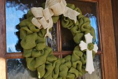 Ready to Ship - Spring Wreath - Easter Wreath - St. Patrick's Day Wreath - Burlap Bubble Wreath with Cross