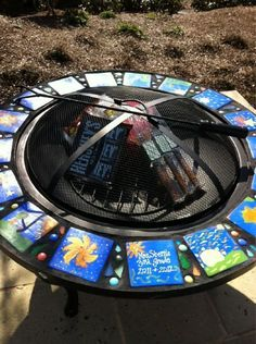 Fire pit class project for school auction. All the kids hand painted their own… Classroom Auction Projects, Art Auction Projects, Class Art Projects, Collaborative Art Projects, Art Classroom, Class Auction Item, Auction Items, School Fundraisers, Auction Baskets
