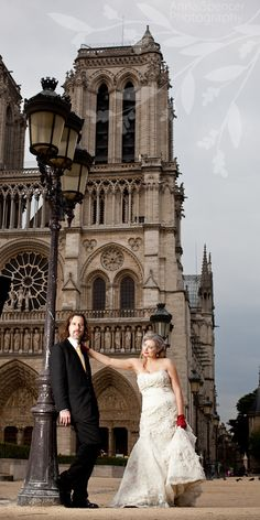 Anna and Spencer Photography, Paris Wedding, France Wedding, Notre Dame, Bride and groom in front of Notre Dame. Day After Session: portrait of the bride & groom after the wedding day.