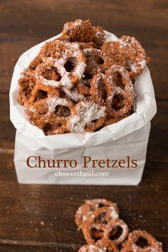 Churro Pretzels - Oh Sweet Basil - Delicious Churros Recipes Online Yummy Snacks, Delicious Desserts, Snack Recipes, Dessert Recipes, Yummy Food, Tasty, Churros, Spiced Pretzels, Pretzels Recipe