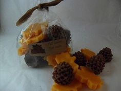 Fall Leaves & Pine Cone Wax Melts  $4.95 in clear bag ~ can also be purchased in a brown kraft bakery bag  www.backroad-hobbies.com