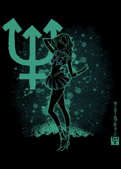 """Sailor Moon Neptune #Displate artwork by artist """"Soulkr Design"""". Part of a 12-piece set featuring the main characters from the popular Japanese anime Sailor Moon. £36 / $46 per poster (Regular size), £72 / $95 per poster (Large size) #SailorMoon #PrettySoldierSailorMoon #PrettyGuardianSailorMoon #SailorSoldiers #SailorMercury #SailorVenus #SailorMars #SailorJupiter #SailorSaturn #SailorUranus #SailorNeptune #SailorPluto #TuxedoMask #Anime #Animation"""
