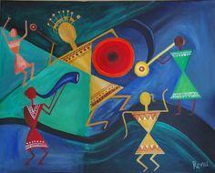 Warli music celebration by rvora on Etsy