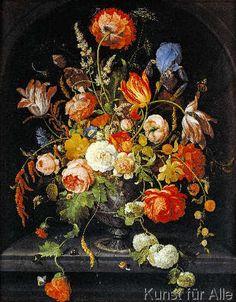 Abraham Mignon - Blumenstillleben mit Insekten und zwei Schnecken