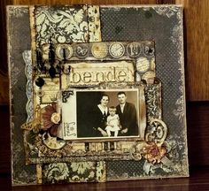 Bende Family ~ Simply designed heritage page with a great mix of vintage patterned papers.
