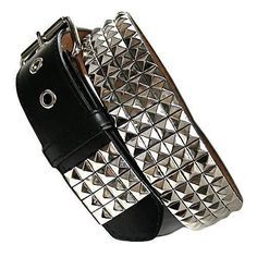 Four Row Black & Silver Pyramid Studded Belt $16.00