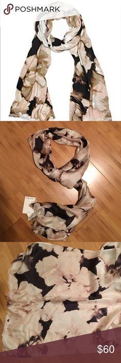 100% silk CK scarf Really beautiful 100% silk Calvin Klein floral scarf brand NWT. Calvin Klein Accessories Scarves & Wraps