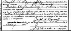The 1888 marriage license of my Austrian ancestor Nellie Aufderheide and my Bulgarian-Dutch ancestor Joseph Lazarov.