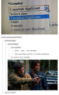 I hate that I get all these Supernatural jokes; I don't even watch this show. Sam Dean, Superwholock, Funny Memes, Hilarious, Jokes, It's Funny, Funny Stuff, Fandoms, Destiel