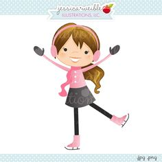 Pretty Pink Ice Skater - JW Illustrations - cute little ice skating girl wearing pink