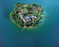 Convent Frauenwörth, Frauenchiemsee or Fraueninsel - Bavaria, Germany. Chiemsee Germany, Places To Travel, Places To See, Places Around The World, Around The Worlds, Fantasy Town, Beau Site, Picture Places, Aerial Images