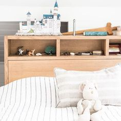 Love this bed in weathered American oak Custom made with storage drawers around the base shelves in the bed head and secret compartments on the side of the bedhead Timber Bedhead, Timber Beds, Attic Storage, Storage Drawers, Storage Shelves, Dream Bedroom, Kids Bedroom, Bedroom Ideas, Timber Shelves