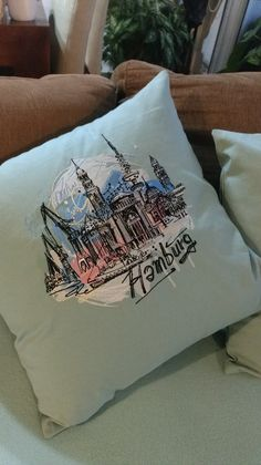 Embroidered cushion with Hamburg design
