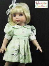 "MINT GREEN FITS 10"" TONNER ANN ESTELLE VINTAGE HANKIE COUTURE DOLL PLEATED DRESS"