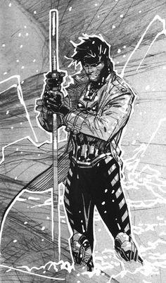 Gambit by Jim Lee Gambit Marvel, Gambit X Men, Rogue Gambit, Captain Marvel, Comics Love, Marvel Comics Art, Anime Comics, Comic Book Artists, Comic Artist