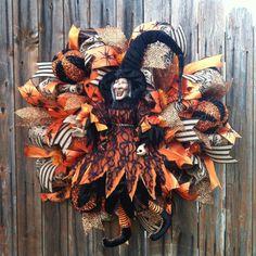 Deco Mesh Halloween Wreath Black & Orange Witch by GoblinsandHolly, $140.00