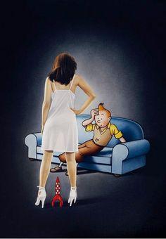 Again we're making fun of Tintin;