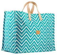 Chevron Super Tote, Aqua | Print Out | One Kings Lane