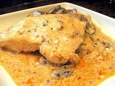 A great recipe for when company comes over, Angel Chicken - chicken, mushrooms, Italian dressing, white wine, cream cheese, etc...all in a slow cooker.