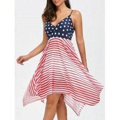#DressLily - #Dresslily Bohemian Stripe Polka Dot Asymmetrical Slip Dress - AdoreWe.com