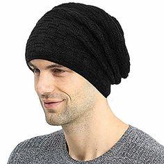 64a75234d15 Men Beanie Hat Winter Knit Hats Baggy Slouchy Fleece Lined Ski Skull Cap  New  fashion