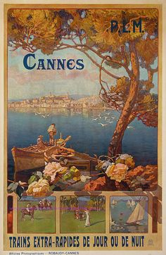 'Cannes, France - PLM Retro travel poster ⛔ HQ-quality' Poster by Alex ⛵ Air Art And Illustration, Illustrations, Retro Poster, Poster Ads, Vintage Advertisements, Vintage Ads, Kunst Poster, Tourism Poster, Ville France