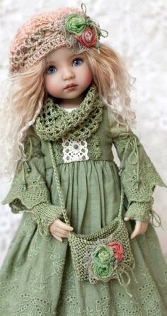 Adorably cute shabby rustic country style doll clothes crochet and lace set.