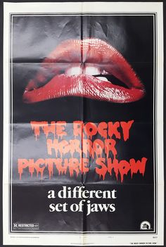 """THE ROCKY HORROR PICTURE SHOW (1975) Richard O'Brien's cult classic really needs no introduction. This is the original US style A iconic """"Lips"""" version, showing model Lorelie Shark's mouth, with a play on the fact Spielberg's 'Jaws' had recently opened. Very light fold wear, which is typical of most US posters, otherwise in very good original condition."""