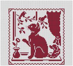 free cat cross stitch patterns to print Funny Cross Stitch Patterns, Cross Stitch Freebies, Beaded Cross Stitch, Simple Cross Stitch, Cross Stitch Charts, Cross Stitch Embroidery, Cat Cross Stitches, Chat Crochet, Crochet Cross