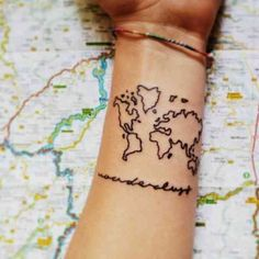 Map of the world travel tattoo