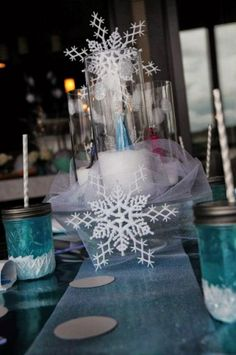 Frozen Inspired New Years Table Centerpiece With Snowflakes for 2016 - Lace Decor, New Years Decor, Frozen Mason Jar